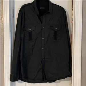 🎄INC men's black/grey button down shirt XXL